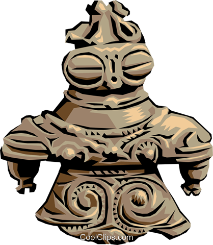 Japanese miniature statue Royalty Free Vector Clip Art illustration arts0077