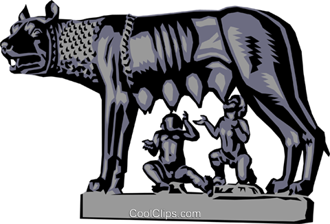 Statue of Romulus and Remus Royalty Free Vector Clip Art illustration arts0088