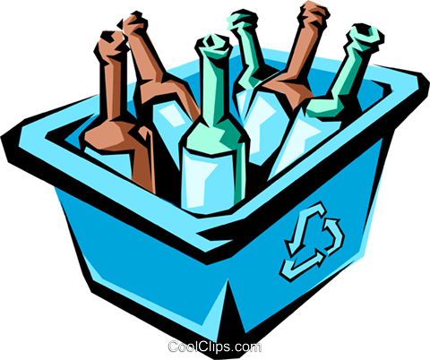 Recycled bottles Royalty Free Vector Clip Art illustration envi0007