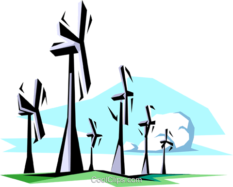 Wind energy Royalty Free Vector Clip Art illustration envi0034