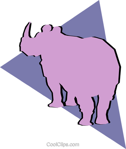 Rhinoceros Royalty Free Vector Clip Art illustration anim0916