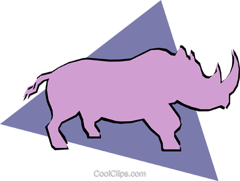 Rhinoceros Royalty Free Vector Clip Art illustration anim0917