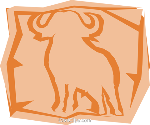Water buffalo Royalty Free Vector Clip Art illustration anim0981