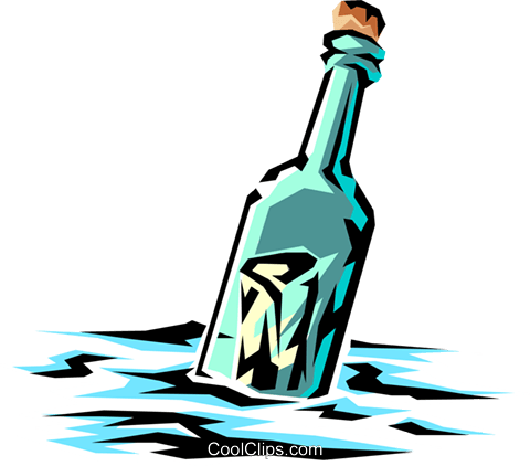 Message in a bottle Royalty Free Vector Clip Art illustration tran0289