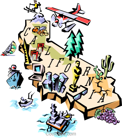 California map Royalty Free Vector Clip Art illustration worl0096