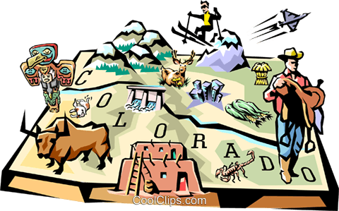 Colorado vignette map Royalty Free Vector Clip Art illustration worl0108