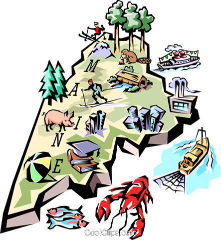 Maine vignette map Royalty Free Vector Clip Art illustration worl0114