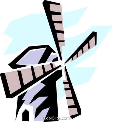 Dutch windmill Royalty Free Vector Clip Art illustration arch0273