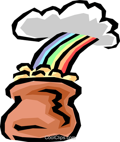 Pot of gold Royalty Free Vector Clip Art illustration busi0541