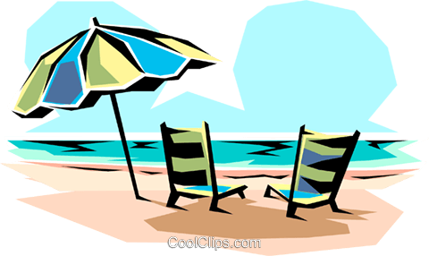 Beach chairs Royalty Free Vector Clip Art illustration natu0004