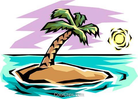 Desert island Royalty Free Vector Clip Art illustration natu0010