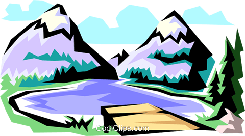 Mountain scenes Royalty Free Vector Clip Art illustration natu0011