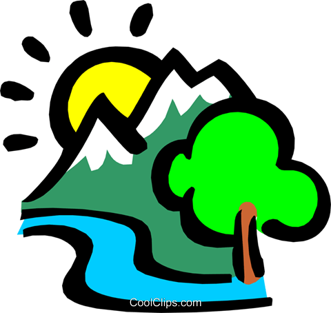 Mountains with the sun and river Royalty Free Vector Clip Art illustration natu0413