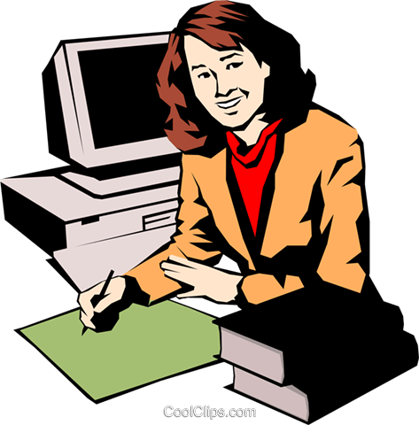 Woman working at computers Royalty Free Vector Clip Art illustration peop0936