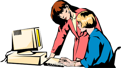 Two businesswomen at computer Royalty Free Vector Clip Art illustration peop0942