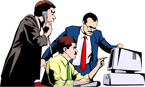 Men working at computers Royalty Free Vector Clip Art illustration peop0945