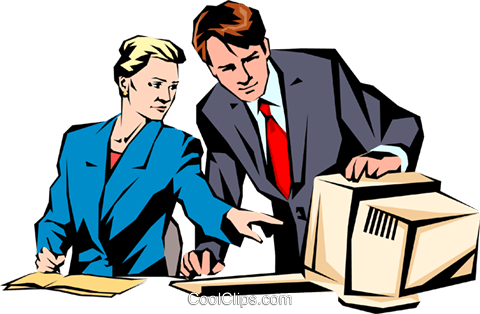 Man & woman working at computer Royalty Free Vector Clip Art illustration peop0946