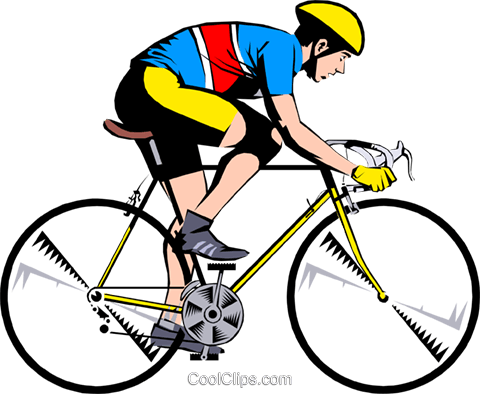 Cyclist on ten speed bike Royalty Free Vector Clip Art illustration peop0978