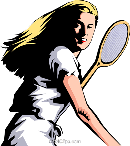 Tennis woman Royalty Free Vector Clip Art illustration peop0984