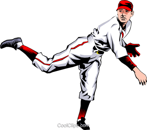 Baseball player pitching the ball Royalty Free Vector Clip Art illustration peop0993