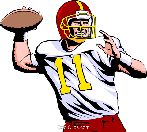 Quarterback throwing ball Royalty Free Vector Clip Art illustration peop0999