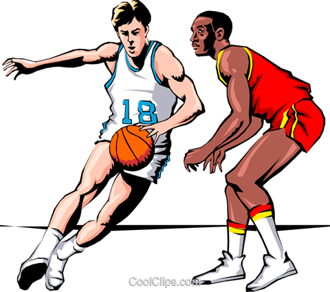 Basketball player dribbling ball Royalty Free Vector Clip Art illustration peop1006