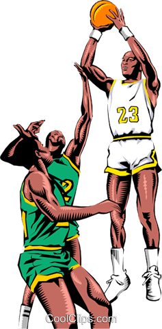 Basketball player taking a shot Royalty Free Vector Clip Art illustration peop1007