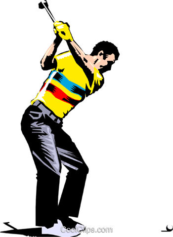 Golfer Royalty Free Vector Clip Art illustration peop1008