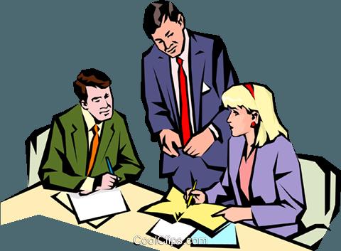 男子和妇女会议 免版税矢量剪贴画插图