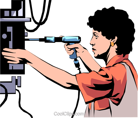 Woman assembly line Royalty Free Vector Clip Art illustration peop1053