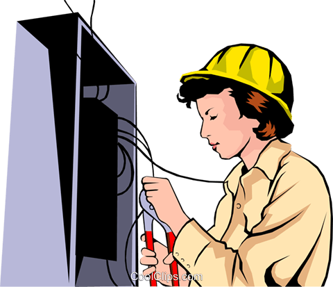 Woman electrician Royalty Free Vector Clip Art illustration peop1054