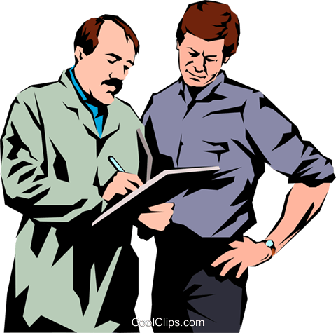 Men with a clipboard Royalty Free Vector Clip Art illustration peop1064