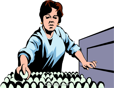 Woman working with eggs Royalty Free Vector Clip Art illustration peop1066