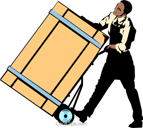 Man with wooden crate Royalty Free Vector Clip Art illustration peop1067