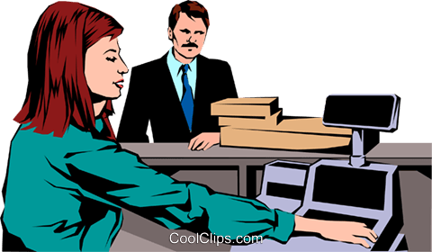 Woman at cash register Royalty Free Vector Clip Art illustration peop1079
