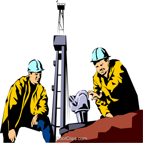 Oil rig workers Royalty Free Vector Clip Art illustration peop1081