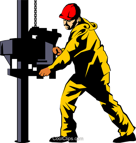 Man working on oil rig Royalty Free Vector Clip Art illustration peop1083