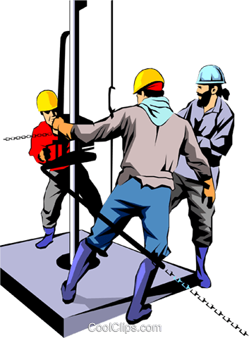 Men working on oil rig Royalty Free Vector Clip Art illustration peop1084