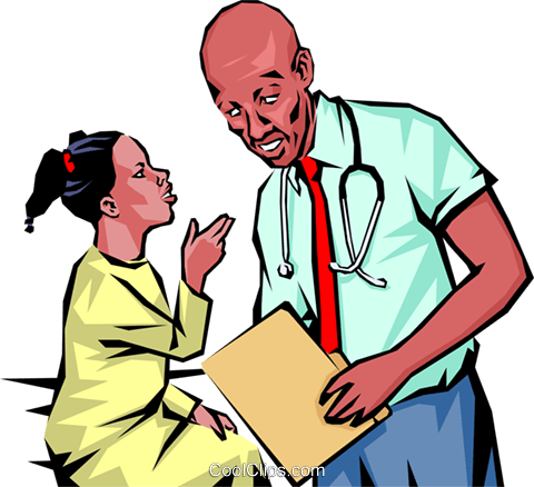 Doctor with young patient Royalty Free Vector Clip Art illustration peop1106