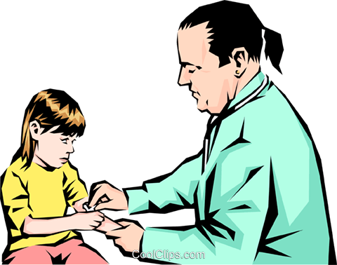 Doctor with young child Royalty Free Vector Clip Art illustration peop1110