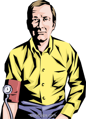 Man having a blood pressure test Royalty Free Vector Clip Art illustration peop1124
