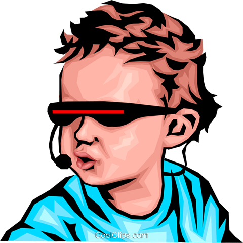 Baby with cyber glasses Royalty Free Vector Clip Art illustration peop1178