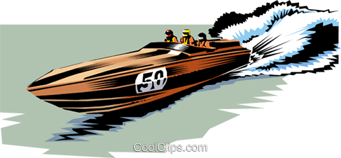 Racing boat Royalty Free Vector Clip Art illustration tran0334