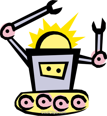 Out of control Robot Royalty Free Vector Clip Art illustration cart1227
