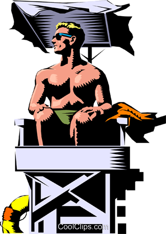 Lifeguard keeping watch Royalty Free Vector Clip Art illustration peop0757