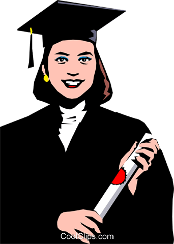 Young female graduate Royalty Free Vector Clip Art illustration peop0770