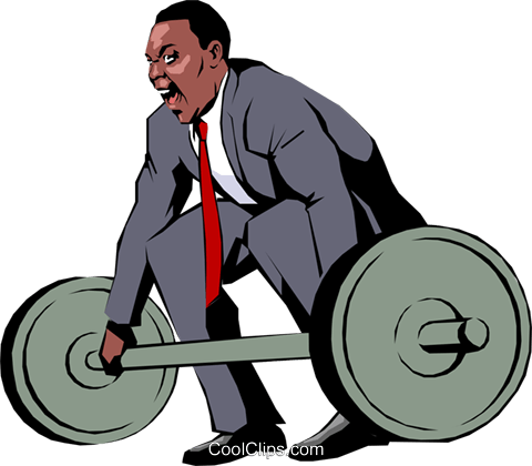 Businessman lifting weights Royalty Free Vector Clip Art illustration peop0803