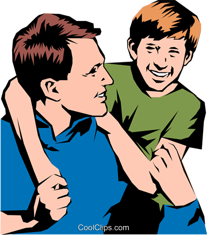 Father & son Royalty Free Vector Clip Art illustration peop0836