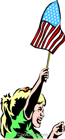 Girl holding flag Royalty Free Vector Clip Art illustration peop0838