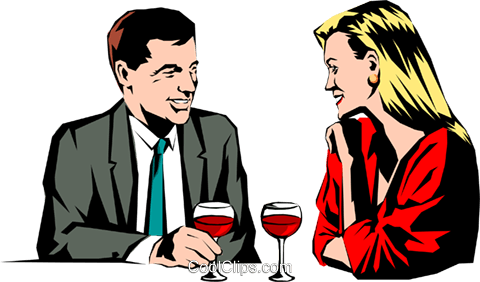 Couple having drinks Royalty Free Vector Clip Art illustration peop0842